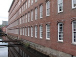 Outside the Boott textile mill in Lowell, Mass.